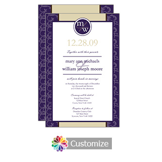 Amethyst Rococo 5 x 7.875 Flat Card Wedding Invitation
