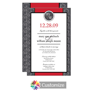 Red Rococo 5 x 7.875 Flat Card Wedding Invitation