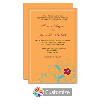 Tangerine Floral 5 x 7.875 Flat Card Wedding Invitation