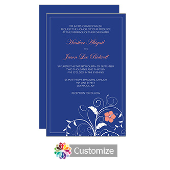 Navy Blue Floral 5 x 7.875 Flat Card Wedding Invitation