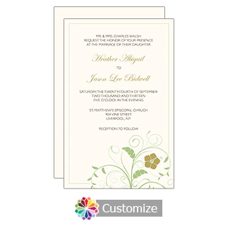 Cream Clover Floral 5 x 7.875 Flat Card Wedding Invitation