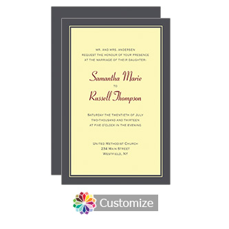 Canery Classical 5 x 7.875 Flat Card Wedding Invitation