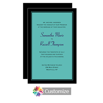 Teal Classical 5 x 7.875 Flat Card Wedding Invitation