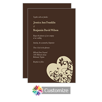 Hearts 5 x 7.875 Chocolate Flat Wedding Invitation Card