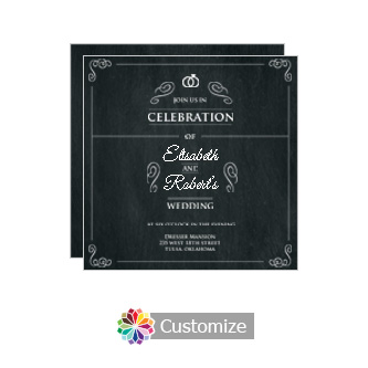 Rings of Love Chalkboard Square Flat Wedding Invitation Card 5.875 x 5.875