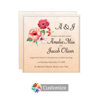 Floral Coralbell Lace Square Wedding Invitation 5.875 x 5.875