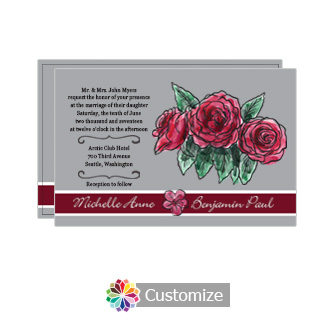 Floral Sweet Botanical Rose Flat Wedding Invitation Card 5 x 7.875
