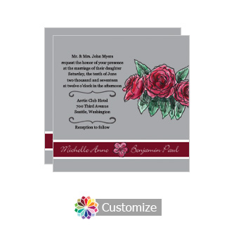 Floral Sweet Botanical Rose Square Wedding Invitation 5.875 x 5.875