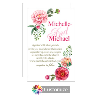 Floral Elegant Summer Poppy Wedding Invitation Card 5 x 7.875