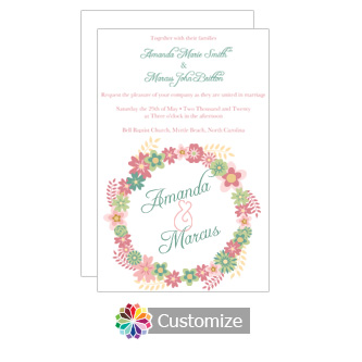 Floral Infinity Floral Wreath Wedding Invitation Card 5 x 7.875