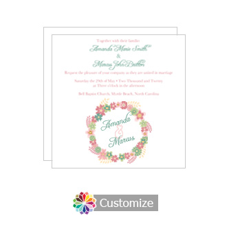 Floral Infinity Floral Wreath Square Wedding Invitation 5.875 x 5.875