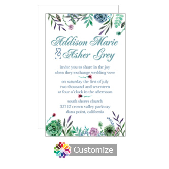 Floral Spring Meadow Flowers Flat Wedding Invitation Card 5 x 7.875