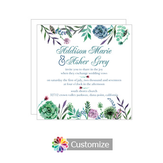 Floral Spring Meadow Flowers Square Wedding Invitation 5.875 x 5.875