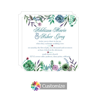 Elegant Floral Spring Meadow Flowers Square Wedding Invitation 5.875 x 5.875