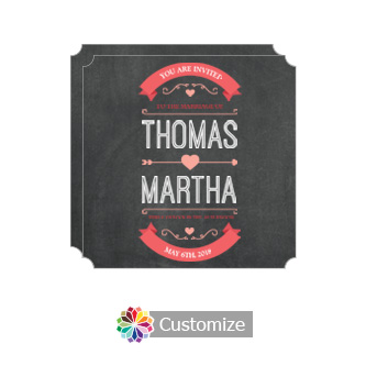 Elegant Hearts of Love Chalkboard Style Flat Square Wedding Invitation Card 5.875 x 5.875