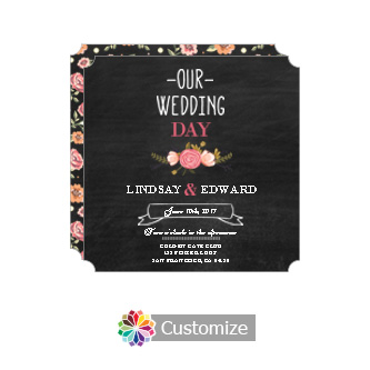 Elegant Floral Chalkboard Square Wedding Invitation Card 5.875 x 5.875