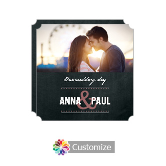 Elegant Romantic Photo Chalkboard Style Flat Square Wedding Invitation 5.875 x 5.875