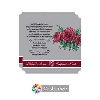 Elegant Floral Sweet Botanical Rose Square Wedding Invitation 5.875 x 5.875