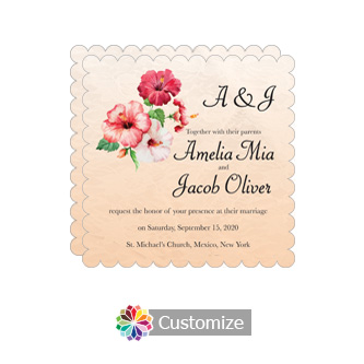 Scalloped Floral Coralbell Lace Square Wedding Invitation 5.875 x 5.875