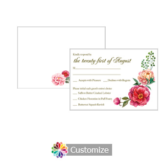 Floral Elegant Summer Poppy 5 x 3.5 RSVP Enclosure Card - Dinner Choice