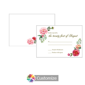 Floral Elegant Summer Poppy 5 x 3.5 RSVP Enclosure Card - Reception