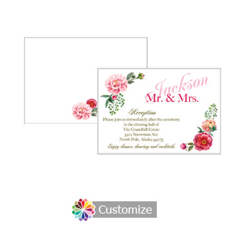 Floral Elegant Summer Poppy 5 x 3.5 Accomodations Enclosure Card