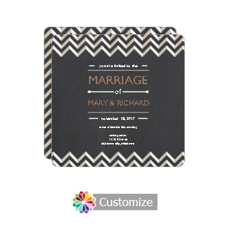 Rounded Chalkboard Chevron Square Wedding Invitation Card 5.875 x 5.875