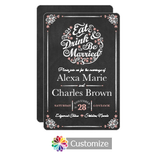 Rounded Eat-Drink-Be-Married Chalkboard Flat Wedding Invitation Card 5 x 7.875