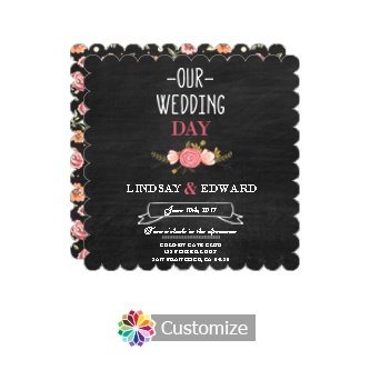 Scalloped Floral Chalkboard Square Wedding Invitation Card 5.875 x 5.875