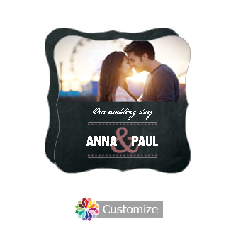 Fancy Romantic Photo Chalkboard Style Flat Square Wedding Invitation 5.875 x 5.875