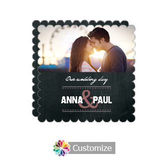 Scalloped Romantic Photo Chalkboard Style Flat Square Wedding Invitation 5.875 x 5.875