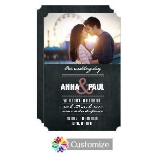 Elegant Romantic Photo Chalkboard Style Flat Wedding Invitation Card 5 x 7.875