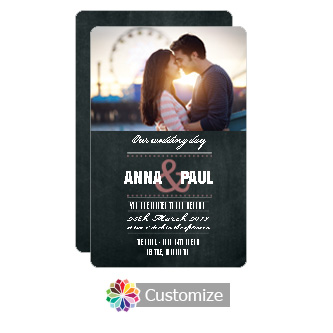 Rounded Romantic Photo Chalkboard Style Flat Wedding Invitation Card 5 x 7.875