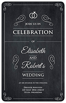 Rounded Rings of Love Chalkboard Flat Wedding Invitation Card 5 x 7.875