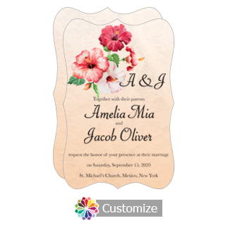Fancy Floral Coralbell Lace Wedding Invitation Card 5 x 7.875