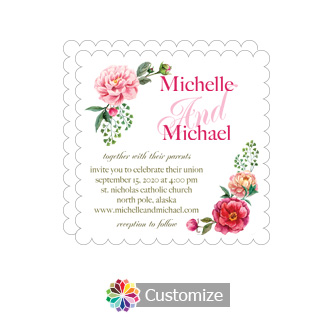 Scalloped Floral Summer Poppy Wedding Invitation Card 5 x 7.875