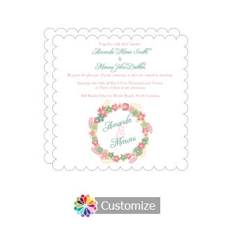 Scalloped Floral Infinity Floral Wreath Square Wedding Invitation 5.875 x 5.875
