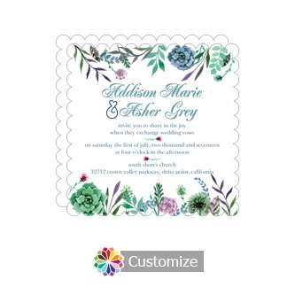 Scalloped Floral Spring Meadow Flowers Square Wedding Invitation 5.875 x 5.875