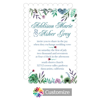 Scalloped Floral Spring Meadow Flowers Flat Wedding Invitation Card 5 x 7.875