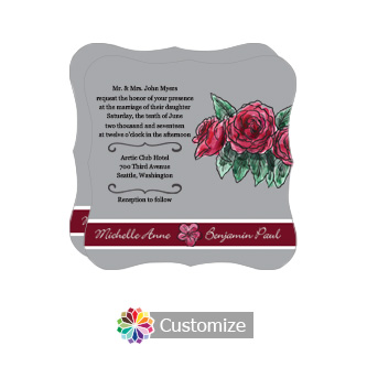 Fancy Floral Sweet Botanical Rose Square Wedding Invitation 5.875 x 5.875