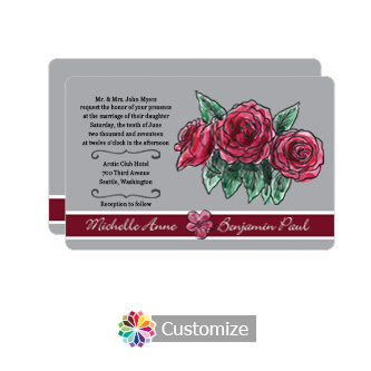 Rounded Floral Sweet Botanical Rose Flat Wedding Invitation Card 5 x 7.875