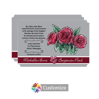 Elegant Floral Sweet Botanical Rose Flat Wedding Invitation Card 5 x 7.875