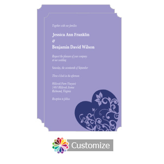 Elegant Hearts 5 x 7.875 Flat Wedding Invitation Card