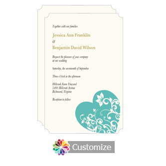 Elegant Hearts 5 x 7.875 Turquoise Flat Wedding Invitation Card