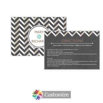 Chalkboard Chevron 5 x 3.5 Directions Enclosure Card