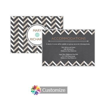 Chalkboard Chevron 5 x 3.5 Accommodations Enclosure Card