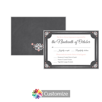 Eat-Drink-Be-Married Chalkboard 5 x 3.5 RSVP Enclosure Card - Dinner Choice