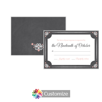 Eat-Drink-Be-Married Chalkboard 5 x 3.5 RSVP Enclosure Card - Reception