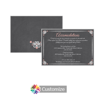Eat-Drink-Be-Married Chalkboard 5 x 3.5 Accommodations Enclosure Card