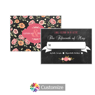 Chalkboard Floral 5 x 3.5 Directions Enclosure Card